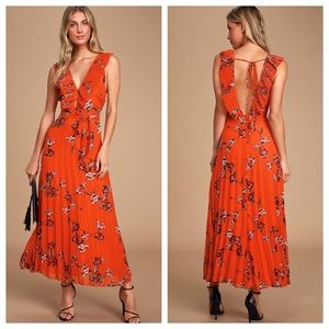 Lulu's Try Again Red Floral Pleated Chiffon Dress